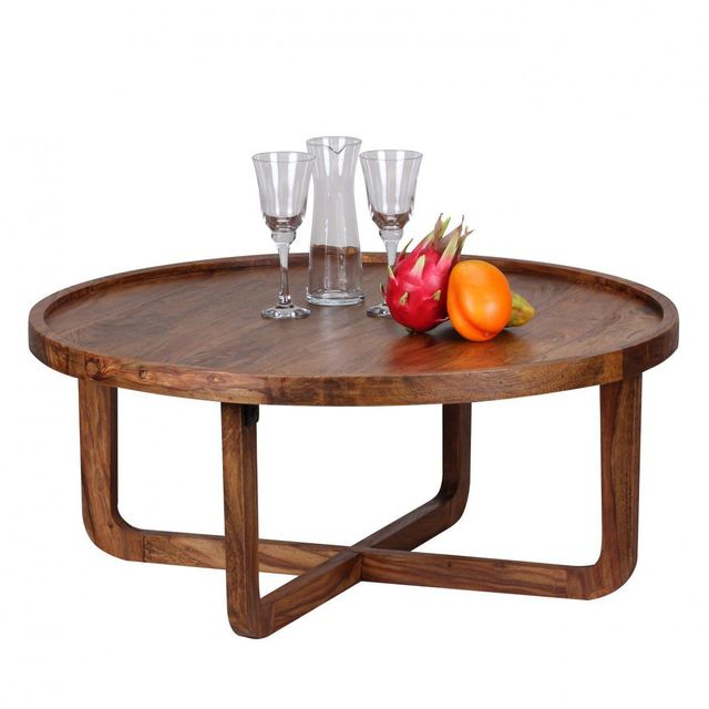 COMFORIUM Table basse ronde 85x85 cm en bois massif sheesham