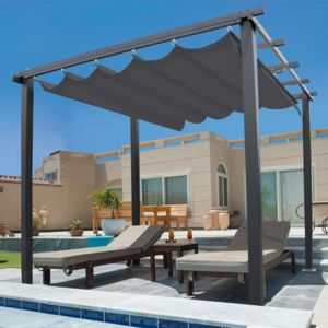 idmarket pergola toit r tractable gris tonnelle 4 pieds 3x3m pas cher achat vente pergola. Black Bedroom Furniture Sets. Home Design Ideas