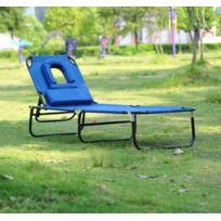HOMCOM - Transat de jardin chaise longue pliante bain de soleil pour lecture bleu 40
