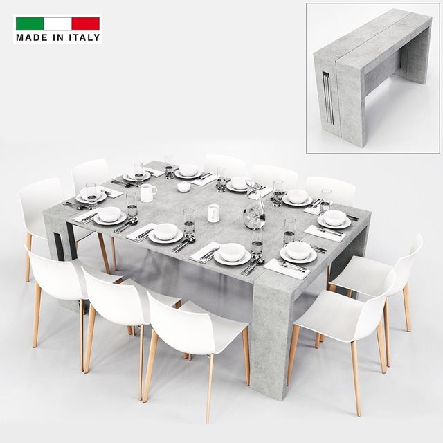 Made In Italia Table Console Extensible Grazia Xl 3 Allonges Gris