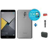 HONOR - 6X Pro - Gris + Enceintes bluetooth M-312 Muse Noir + Carte Micro SDHC 32 Go EVO+ + Perche à Selfie filaire pour smartphone iOs et Android - Noire