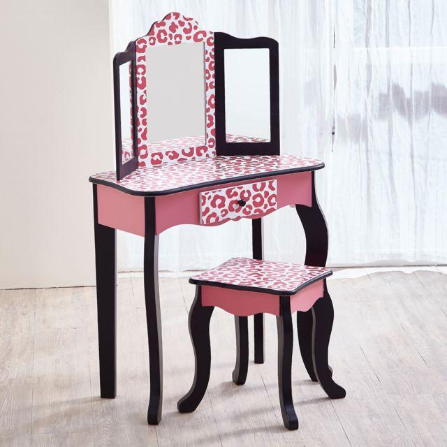 Coiffeuse Enfant Teamson Bois Table Maquillage Miroir Tabouret Fille Td 11670a