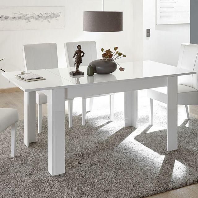 Sofamobili Table 140 avec rallonge blanc laqué design Rosini