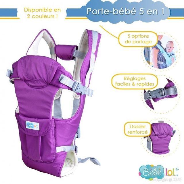Bebe Lol - Porte bébé dorsal ,ventral ou echarpe 5 positions de transport  Violet Bébélol 7b9b48c94f1
