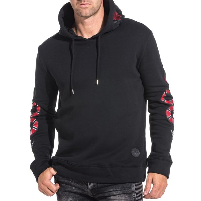 Project X - Sweat noir capuche hoodie broderie snake et rose homme ... 8a195a8b7e7d