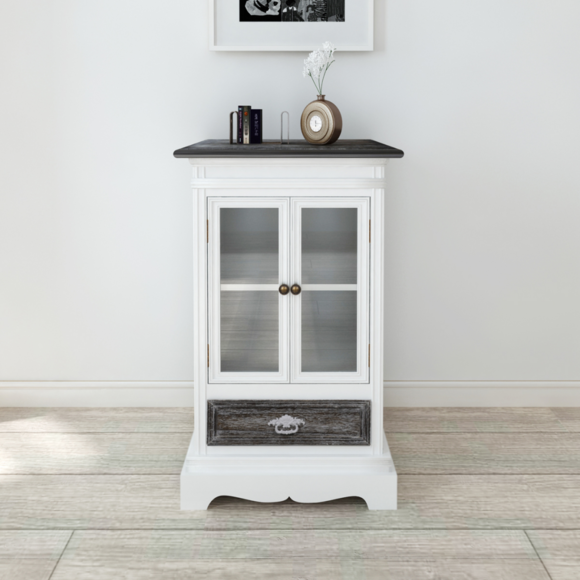 Vidaxl - Armoire en bois 2 portes 1 tiroir blanc