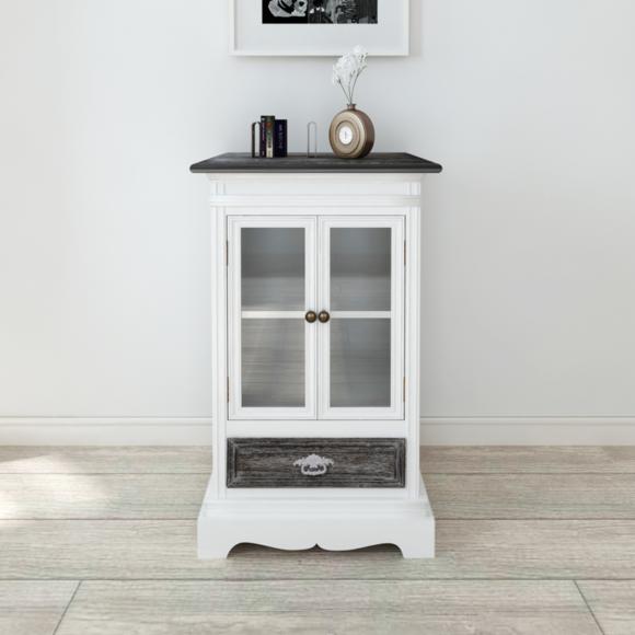 Vidaxl Armoire en bois 2 portes 1 tiroir blanc