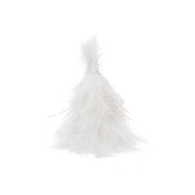 1001DECOTABLE Sapin en plumes blanc 15cm
