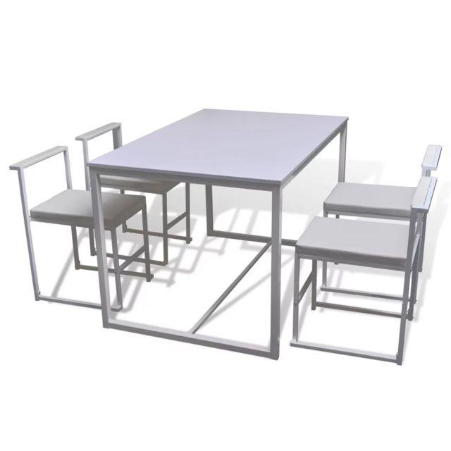 Icaverne Ensembles de meubles de cuisine et de salle à manger edition Ensemble de table et chaises de salle à manger 5 pièces Blanc