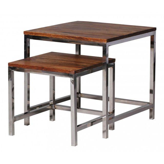 COMFORIUM Set de 2 tables gigognes en bois massif sheesham avec piétement en chrome