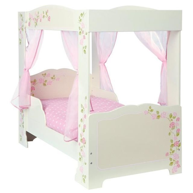 LIT A BALDAQUIN Lit Enfant Fille a Baldaquin en bois Rose et Blanc avec rideaux Rose 70 140 cm
