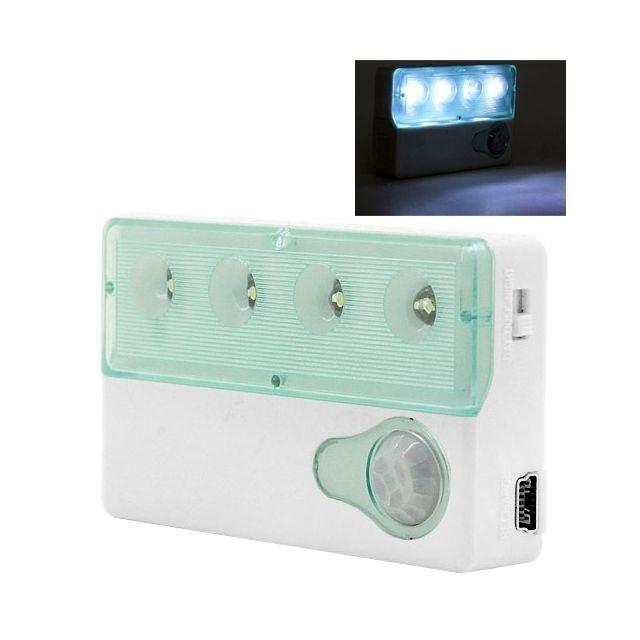 wewoo led d tecteur de mouvement blanc mini 4 usb rechargeable auto pir capteur infrarouge de. Black Bedroom Furniture Sets. Home Design Ideas