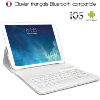 Karylax - Étui de Protection Blanc avec Clavier Intégré Azerty Français Connexion Bluetooth Universel L pour Tablette Huawei MediaPad M3 Lite 10 Dimension 26,5 x 18,5 cm