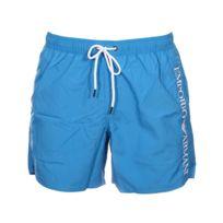 2b729637443 Armani Ea7 - Short de bain Emporio Armani bleu cyan brodé de la marque en  blanc