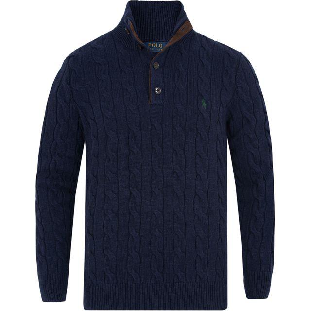 Ralph Lauren - Pull bleu foncé col camionneur - pas cher Achat   Vente Pull  homme - RueDuCommerce af4a79757de