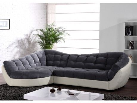 Canapé D'angle Tissu Et Cuir LEANDRO