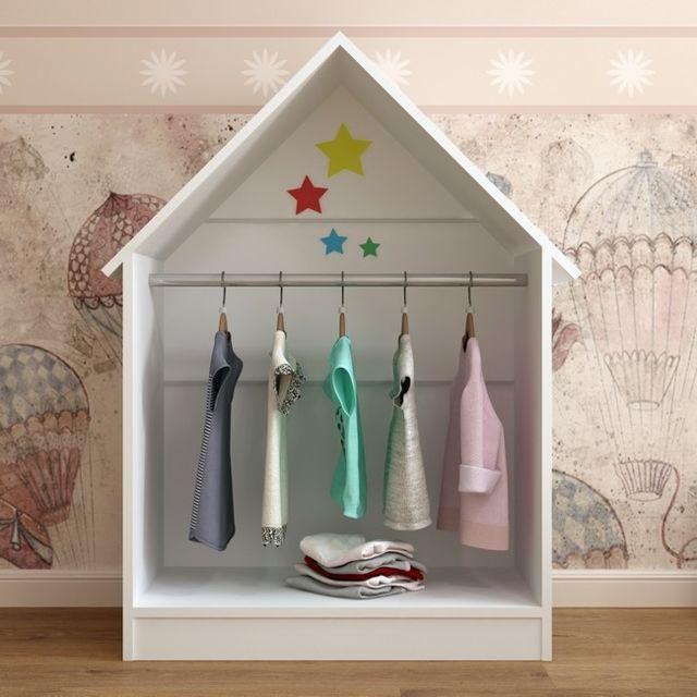 Homemania Armoire Plidas Montessori - Armoire, espace sauver - pour enfants - avec tringle, autocollant - pour chambre - Blanc en