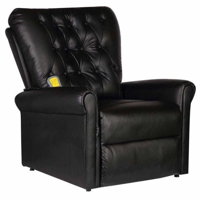 Helloshop26 Fauteuil de massage électrique confort relaxant massant détente cuir artificiel réglable noir 1702026