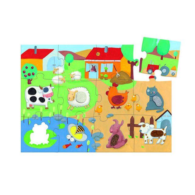 Djeco Puzzle 20 pièces géant - Tactiloferme