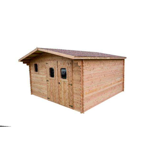 HABRITA Abri DANUBE Douglas madriers 28 mm sans plancher toit double pente 14,74 m²