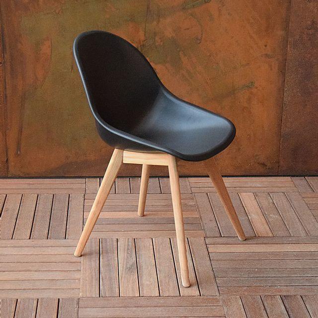 Gecko Jardin Lot de 2 chaises en polypropylène noir et teck Khol