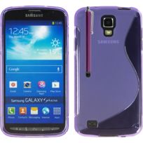 Vcomp - Housse Etui Coque souple silicone gel motif S-line pour Samsung Galaxy S4 Active I9295/ I537 Lte + stylet - Violet