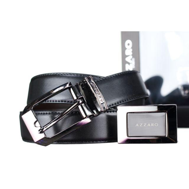 2c722c823e1 Azzaro - Coffret 2 Boucles 884 New Reversible Noir Marron Taille ...