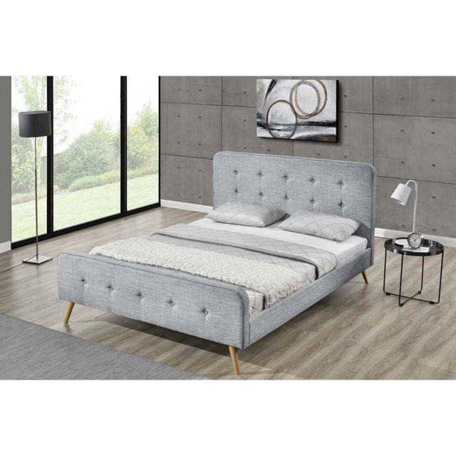 concept usine lit lanka cadre de lit scandinave gris clair avec pieds en bois 160x200. Black Bedroom Furniture Sets. Home Design Ideas