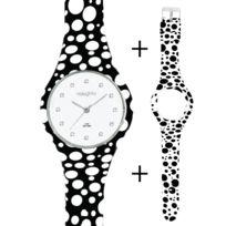 Naughty Watch Montres Femme - Pack Montre Femme Naughty Silicone ornée de Cristaux Swarovski® + 2 bracelets Pois