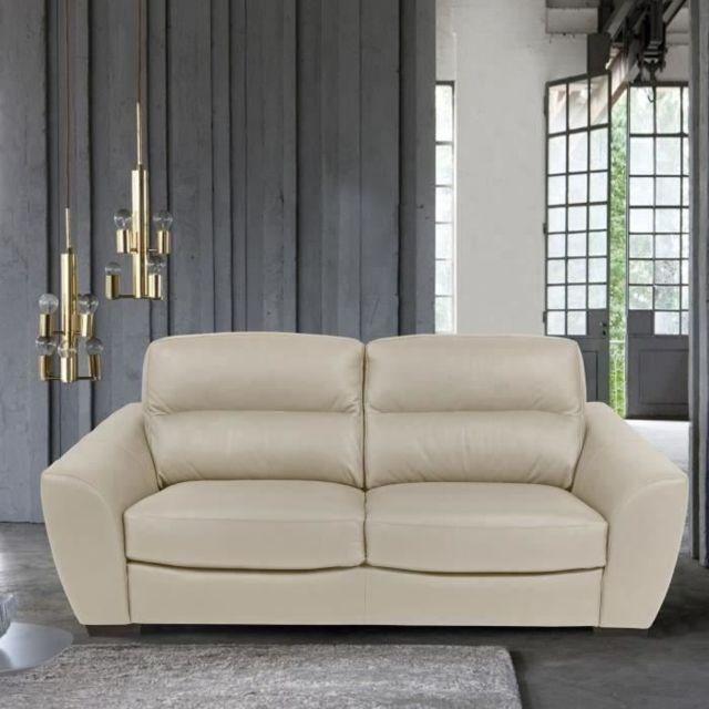 CANAPE - SOFA - DIVAN BARONE Canapé 3 places - Cuir et simili beige - L 205 x P 100 x H 92 cm