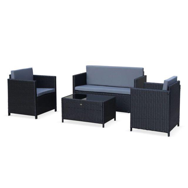 ALICE'S GARDEN Salon de jardin en résine tressée - Perugia - noir, Coussins gris - 4 places - 1 canapé, 2 fauteuils, une table basse