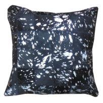 COMFORIUM - Coussin décoratif moderne 45x45 cm en peau de vache teinté coloris argent sur fond gris