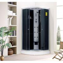 Design et Prix - Magnifique douche balnéo luxe d'angle jupiter: 6 jets de massage, étagères et porte serviette, 1 assise