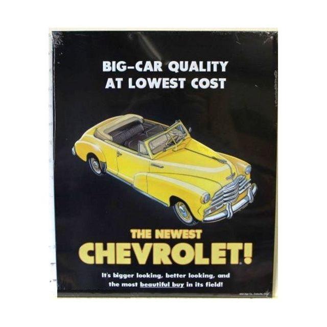 Universel Plaque chevrolet big car Rare cab jaune tole publicitaire