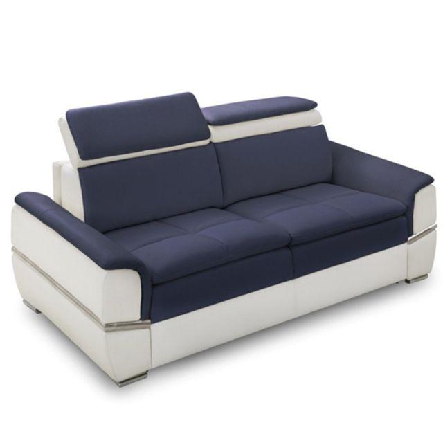Inside 75 Canapé lit Saltillo convertible 140cm ouverture Rapido matelas 15cm bicolore blanc et bleu
