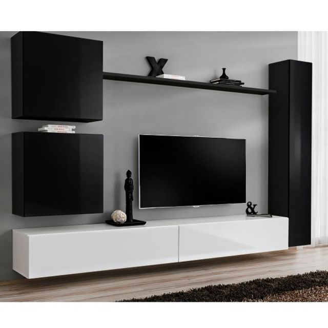 Paris Prix Meuble Tv Mural Design Switch Viii 280cm Noir Blanc