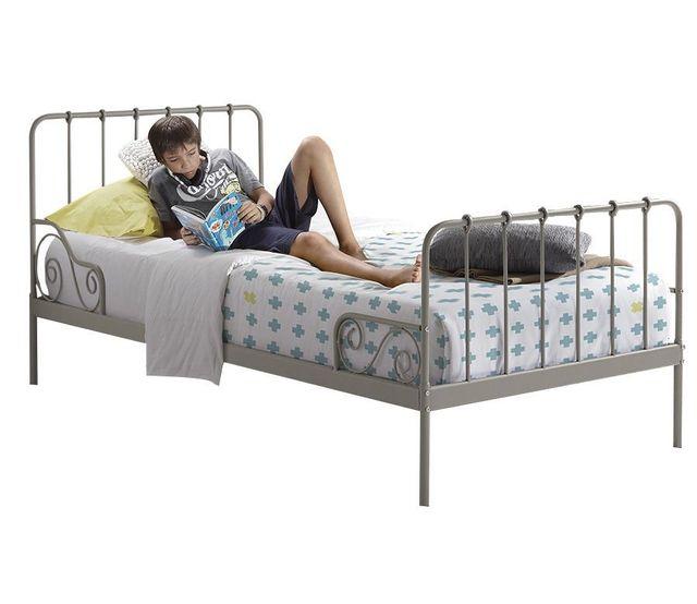 COMFORIUM - Lit simple moderne 90x200 cm en métal coloris gris C ...