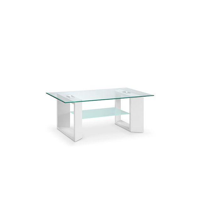 Table basse double plateau en verre blanc