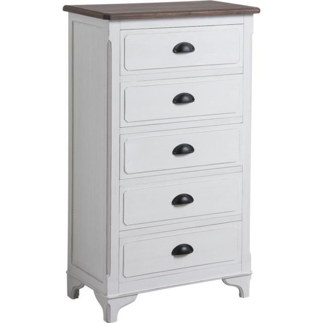 AUBRY GASPARD Commode 5 tiroirs en pin et medium Campagne chic