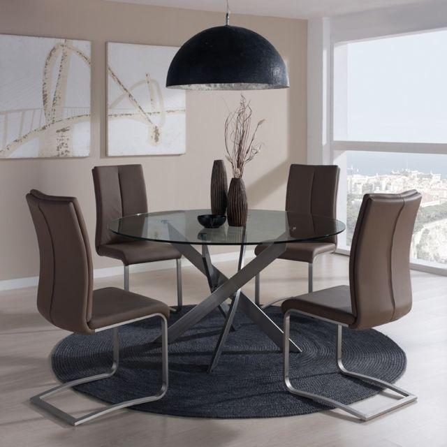Tousmesmeubles Table de repas ronde 120 cm - Norman - L 120 x l 120 x H 76