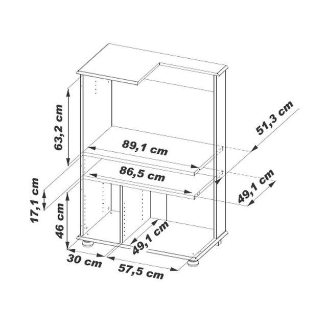 Beaux Meubles Pas Chers - Armoire Informatique Chêne 4 Portes 97cm x 141cm x 55cm