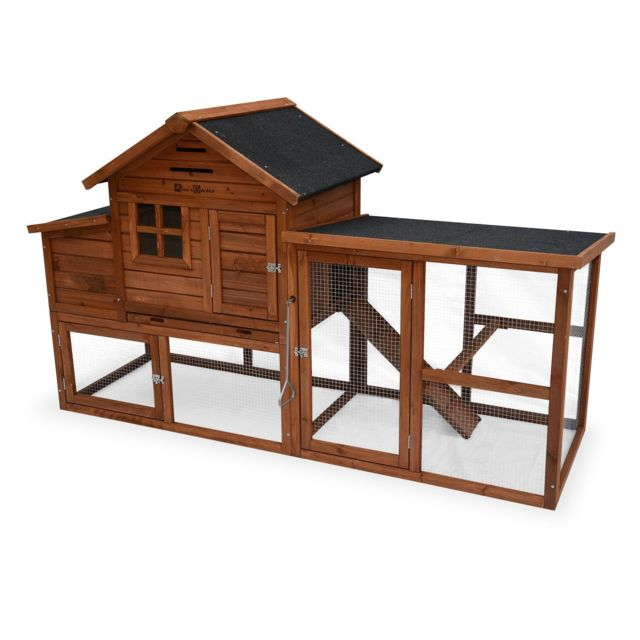 ALICE'S GARDEN Poulailler en bois GELINE, 4 poules, cage à poule avec enclos