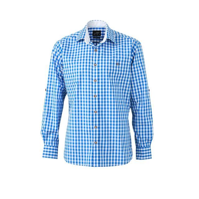 James & Nicholson chemise manches longues à carreaux - Jn638 - Homme - bleu royal et blanc