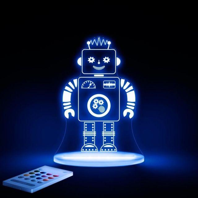 Lampe H17cm Robot Veilleuse Led Transparent SMqVpzU