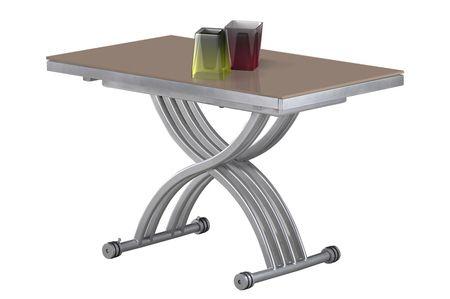 Giovanni Table basse relevable Zen verre cappuccino