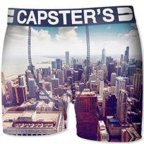 Capster'S Official - Boxer Homme Microfibre Chi Blanc Bleu