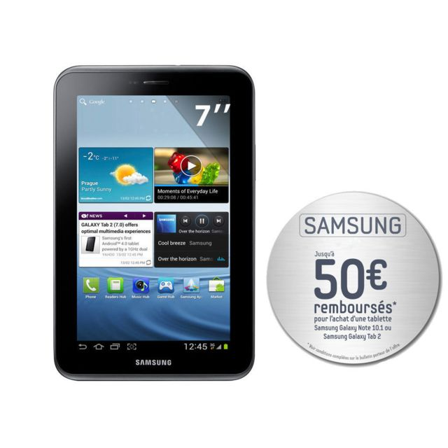 Samsung - Galaxy Tab 2 P3100 - Tablette Tactile 7'' Capacitif - Wi-Fi - Bluetooth - 3G - 16 Go - Android 4.0 - Argent Titanium
