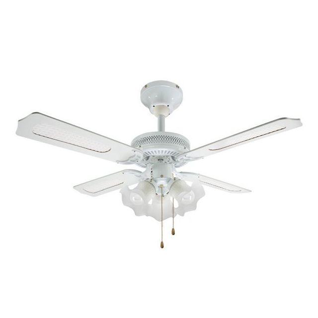 rovex ventilateur de plafond blanc 3 lumi res 3 vitesses. Black Bedroom Furniture Sets. Home Design Ideas