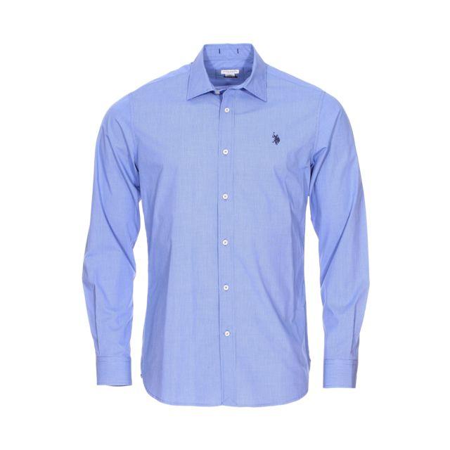 Uspoloassn Chemise cintrée U.S. Polo Assn. en coton à petits carreaux bleus et blancs