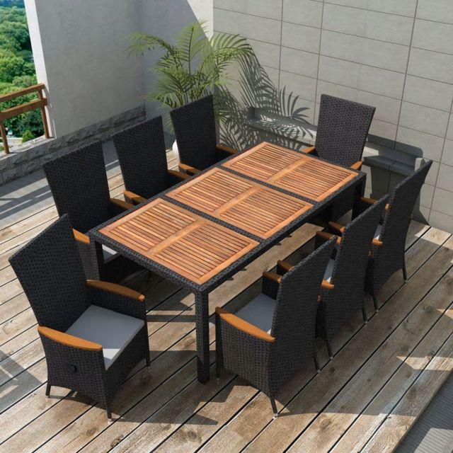 Moderne Meubles de jardin serie Abuja Mobilier de jardin 17 pcs Noir Bois  d\'acacia Résine tressée XXL
